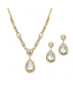 Gold and Clear Rhinestone Necklace & Earrings Set for Prom or Bridesmaids