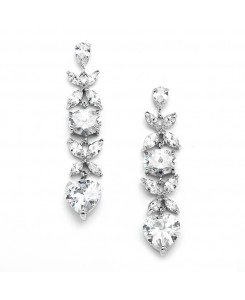 Gorgeous Cubic Zirconia Multi Shape Dangle Wedding or Bridesmaids Earrings