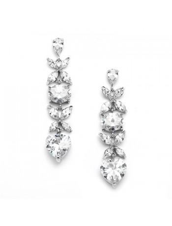 Gorgeous Cubic Zirconia Multi Shape Dangle Wedding or Bridesmaids Earrings