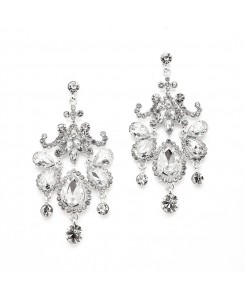 Crystal Chandelier Statement Earrings with Clear Gems