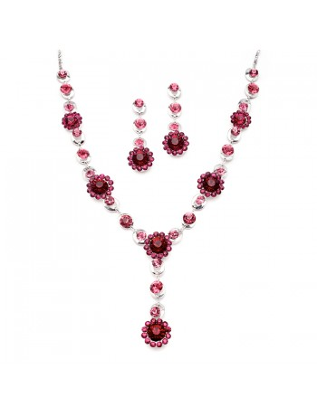 Fuchsia Multi Floral Drop Necklace Set for Prom or Bridesmaids