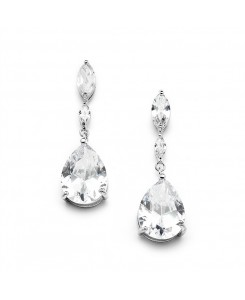Top Selling Cubic Zirconia Wedding Earrings with Dainty Marquise & Pear Drop