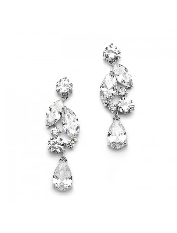 Top Value Cubic Zirconia Mosaic Wedding Earrings with Teardrop