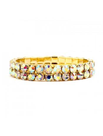 Bold Size Rhinestone Stretch Bracelet in AB & Gold
