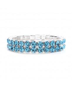 Bold Size Rhinestone Stretch Bracelet in Aqua