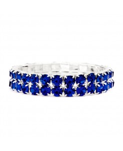 Bold Size Rhinestone Stretch Bracelet in Royal Blue