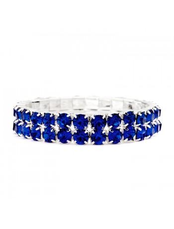 Bold Size Rhinestone Stretch Bracelet in Royal Blue