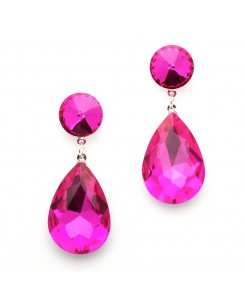 Color Splash Pear-shaped Drop Earrings - Magenta