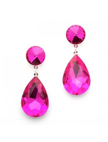 Color Splash Pear-shaped Drop Earrings - Magenta