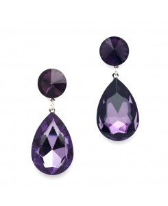 Color Splash Pear-shaped Drop Earrings - Purple