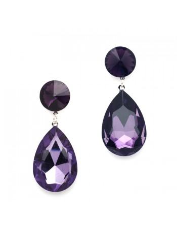 Color Splash Pear-shaped Drop Earrings - Purple