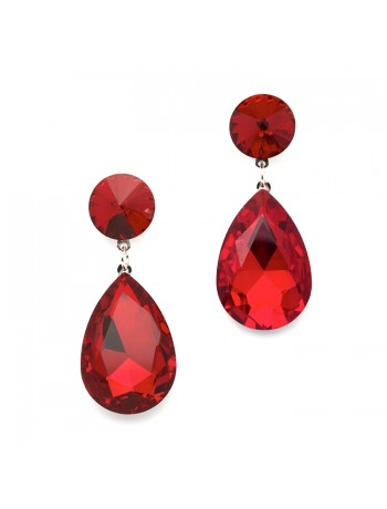 Color Splash Pear-shaped Drop Earrings - Red