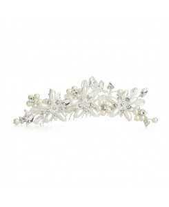Elegant Ivory Pearl & Crystal Flower Wedding Tiara Comb