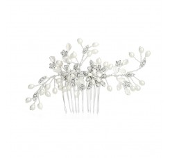Freshwater Pearl Wedding Hair Comb with Pave Crystal Leaves