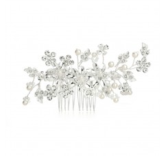 Bridal Hair Comb with Ivory Pearls & Crystal Floral Sprays