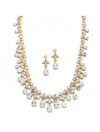 Spectacular Cubic Zirconia Gold Statement Necklace Set