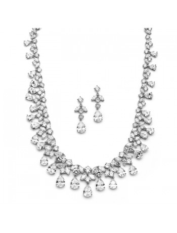 Spectacular Cubic Zirconia Bridal or Pageant Statement Necklace Set
