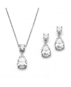 Cubic Zirconia Teardrop Bridal or Bridesmaids Necklace Set