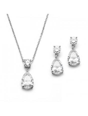 Cubic Zirconia Teardrop Bridal or Bridesmaids Necklace Set