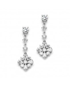 Cubic Zirconia Linear Wedding or Prom Earrings