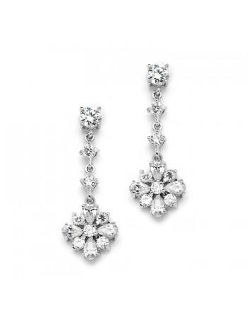 Cubic Zirconia Linear Wedding or Prom Earrings