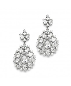 Cubic Zirconia Designer Bridal Earrings with Pearl Sunburst