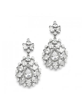 Cubic Zirconia Designer Bridal Earrings with Pearl Sunburst