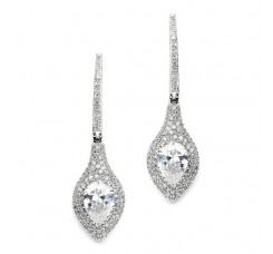 Art Deco Statement Earrings with Bold Pear & Pave CZ