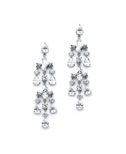 Stunning Geometric Cubic Zirconia Chandelier Earrings