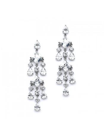 Stunning Geometric Cubic Zirconia Chandelier Earrings