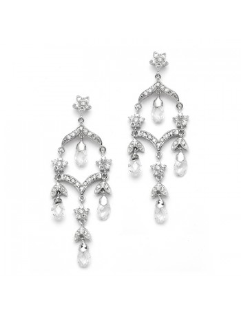 Delicate Bridal Chandelier Earrings in Brilliant CZ & Crystal