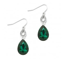 Emerald Green Crystal Teardrops Prom or Bridesmaids Wire Earrings