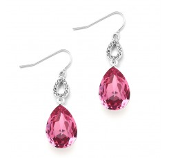 Fuchsia Crystal Teardrops Prom or Bridesmaids Wire Earrings