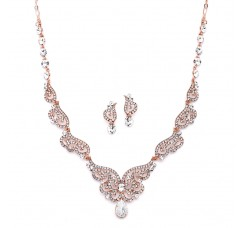 Rose Gold Art Deco Necklace & Earrings Set with Crystal Scrolls