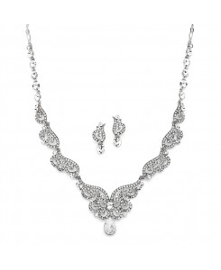 Silver Art Deco Bridal Necklace & Earrings Set with Crystal Scrolls