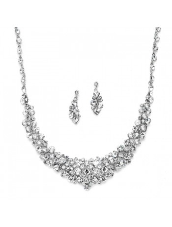 Sparkling Bridal Statement Necklace Set with Square Crystal Accents