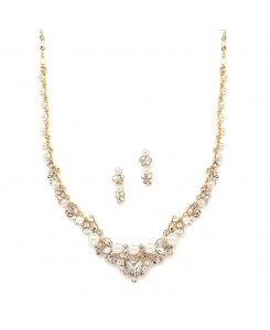Elegant Gold Wedding Necklace Set with Crystals & Pearl Cluster