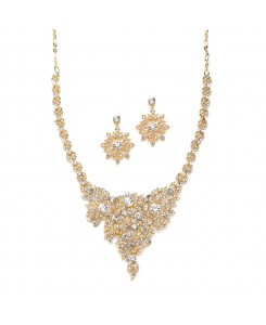 Top Selling Crystal & Gold Statement Necklace Set for Weddings