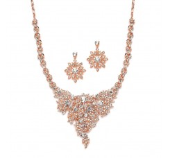 Top Selling Rose Gold & Crystal Statement Necklace Set