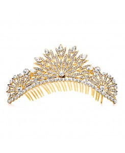 Spectacular Crystal Gold Art Deco Wedding or Prom Tiara Comb