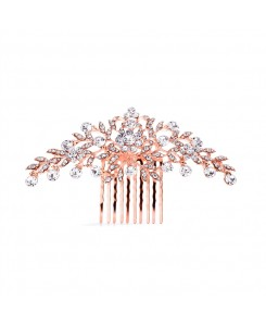Popular Rose Gold Crystal Wedding or Prom Comb with Shimmering Leaves