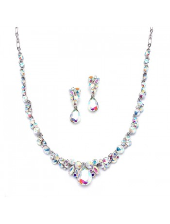 Regal AB Crystal Bridal or Prom Necklace & Earrings Set
