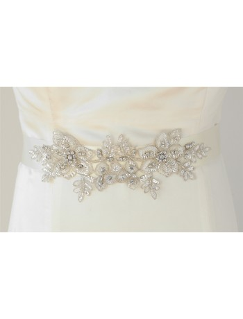 Breathtaking Handmade Bridal Sash with European Crystal Beaded Applique