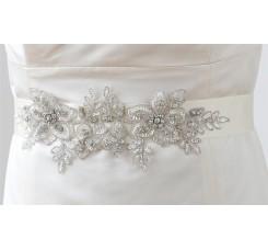 Breathtaking Handmade Sash of European Crystal Beaded Applique