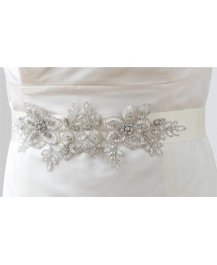 Breathtaking Handmade Sash of European Crystal Beaded Applique
