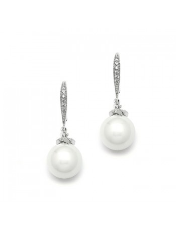 Soft Cream Pearl Bridal Earrings on Pave Wire