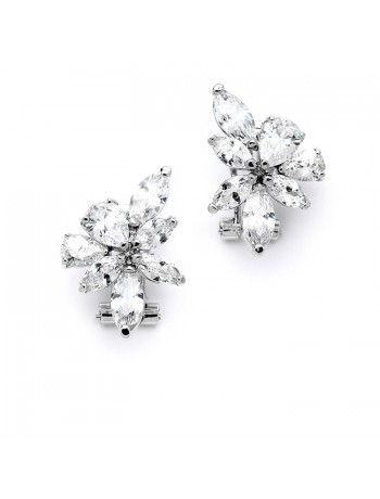 Gorgeous CZ French Pierced Cluster Wedding Earrings