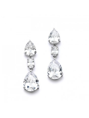 Shimmering Double Pear CZ Bridal or Bridesmaids Earrings
