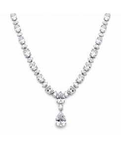 Shimmering Pear & Oval CZ Bridal Statement Necklace