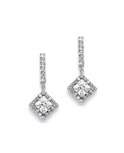 Retro Glam CZ Square Cut Wedding Earrings